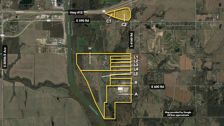 Inola Oklahoma Map.Riverbend Ranch Land Auction Williams Auction